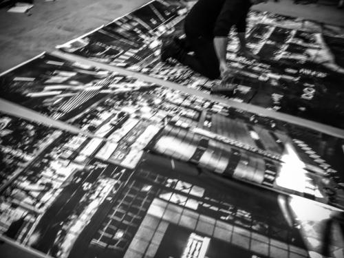 Shibuya crossing billboard installation at Cartiera Latina for Giovanni De Angelis installation