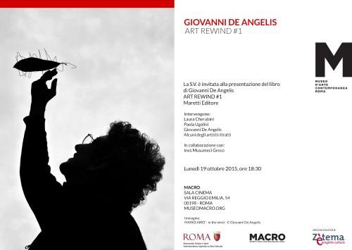 invito presentazione libro ART REWIND #1 di Giovanni De Angelis al Museo MACRO di ROMA